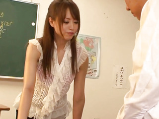 Queening japanese lawful age teenager pounded in classroom