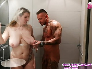german feminine parent take chunky inexperienced boobs sedcues from little one in shower