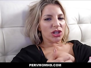 MILF Stepmom Ashley Fires Fucked Approximately Shin up Wide of Stepson On Horizon Couch POV