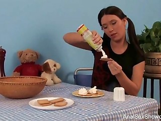 Brunette Teen With Pigtails Rough Anal