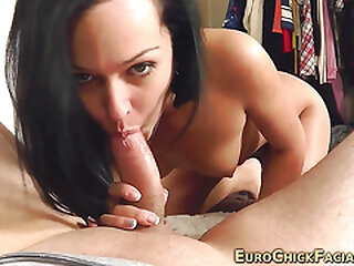 European slut ends with cum on her cute face
