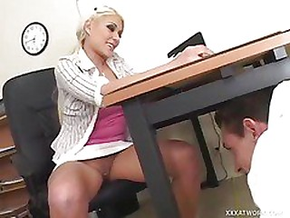 Blonde Secretary Is Crippling Thimbleful Panties