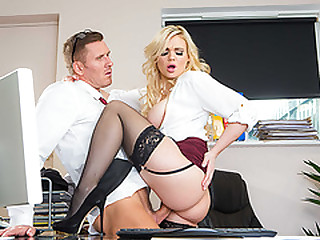 Substandard bigtits Katy Jayne rides bigcock on the office table
