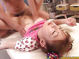 Mari Yamada gets her hairy pussy licked fingered and dildoded