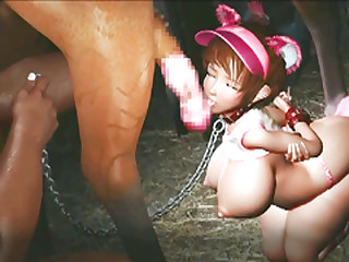 Chained 3d animated with bigboobs sucking monster cock