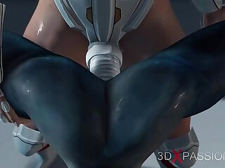 Hot intercourse on the exoplanet! An alien gets fucked by a spacewoman in spacesuit with strapon
